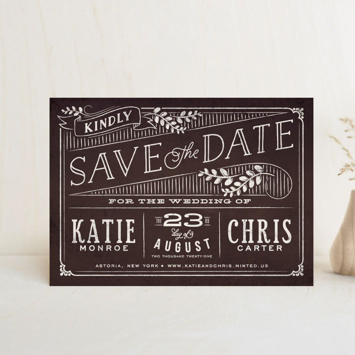 """Slated Forever"" - Rustic Save The Date Postcards in Chalkboard by GeekInk Design."