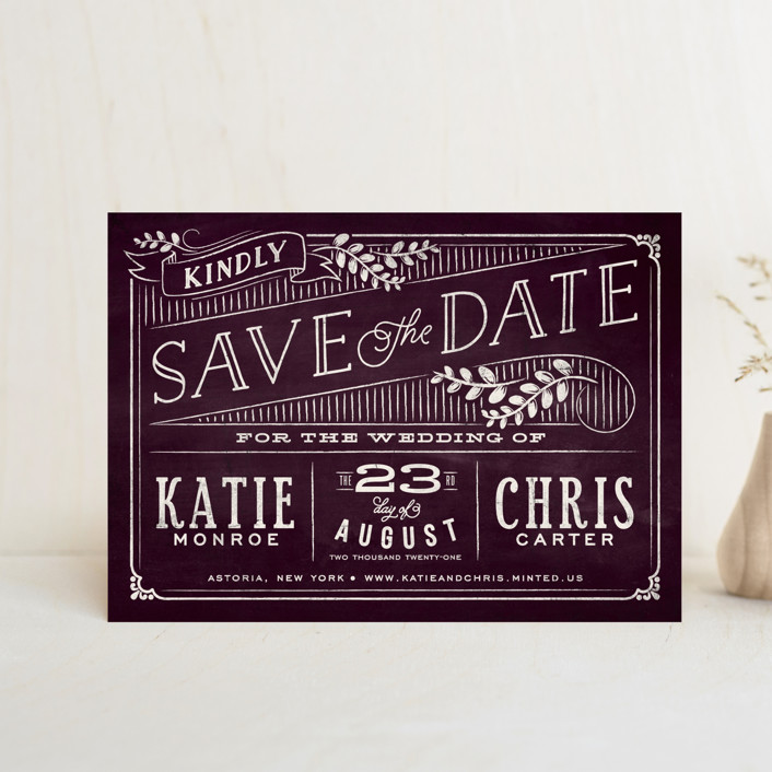 """""""Slated Forever"""" - Rustic Save The Date Postcards in Plum by GeekInk Design."""