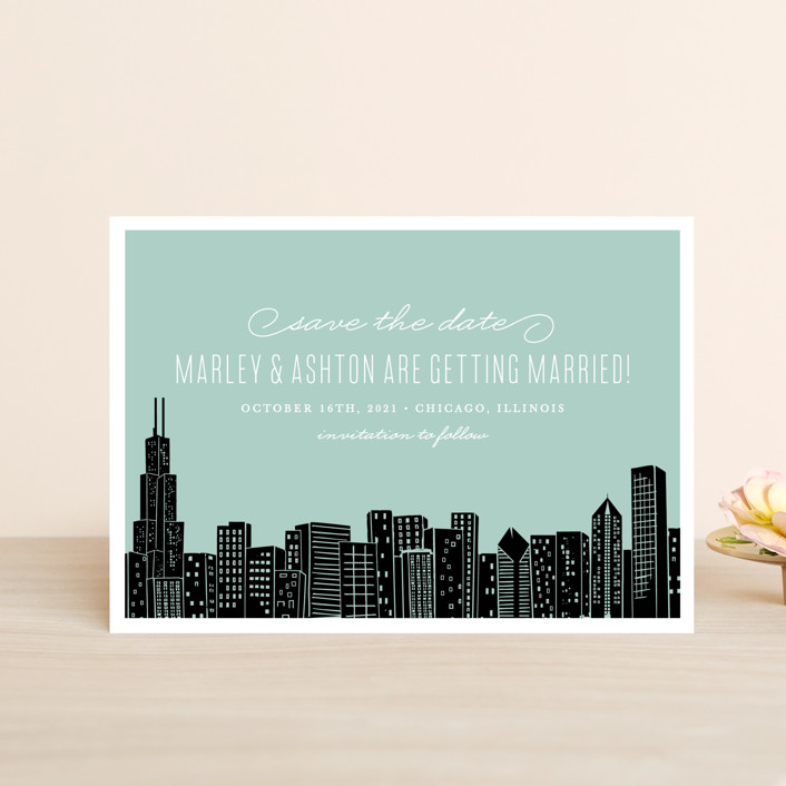 """""""Big City - Chicago"""" - Destination, Modern Save The Date Postcards in Mint Green by Hooray Creative."""