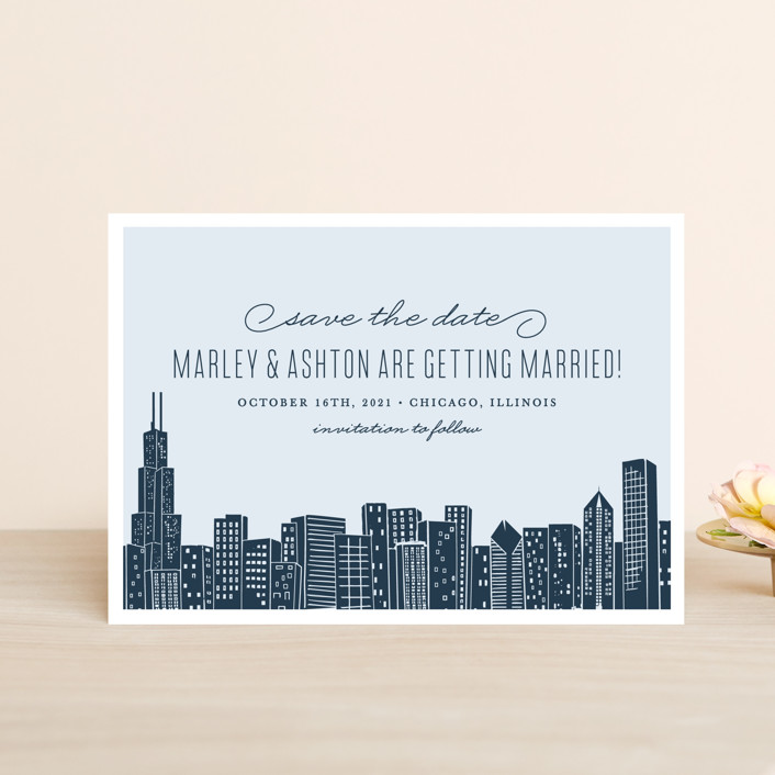 """""""Big City - Chicago"""" - Save The Date Postcards in Pale Blue by Hooray Creative."""