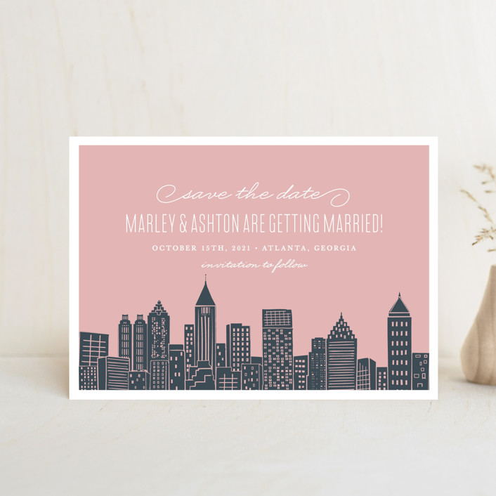 """Big City - Atlanta"" - Save The Date Postcards in Blush by Hooray Creative."