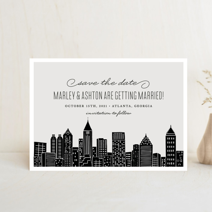 """""""Big City - Atlanta"""" - Save The Date Postcards in Light Taupe by Hooray Creative."""