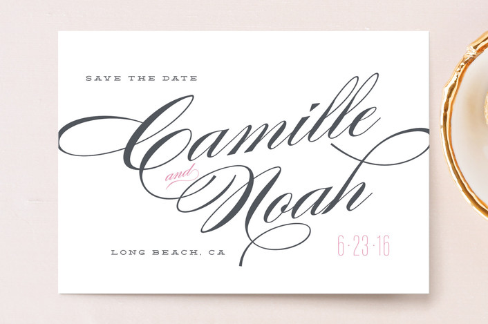 """""""Classique"""" - Bold typographic, Elegant Save The Date Postcards in Blush by Kristie Kern."""