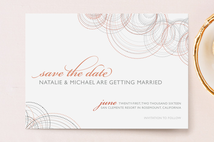"""Intricate"" - Formal, Modern Save The Date Postcards in Grapefruit by Andrea Snaza."