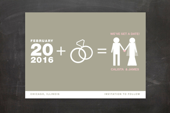 """Matrimony"" - Modern Save The Date Postcards in Sand by Marabou Design."