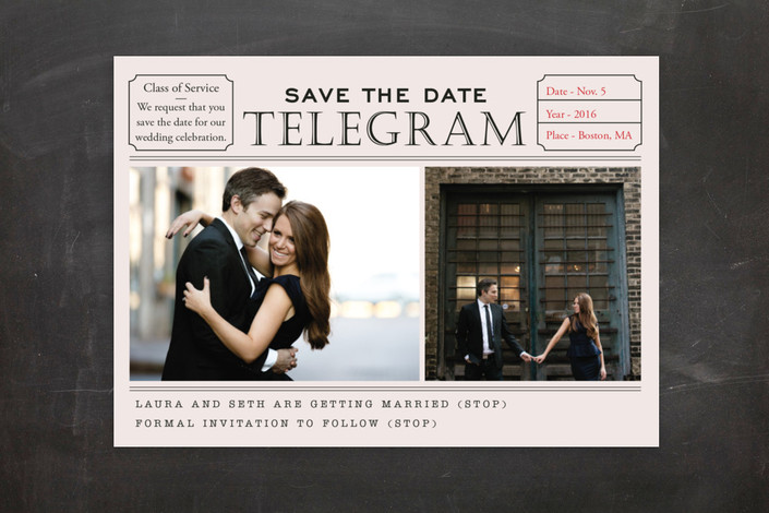 """Telegram"" - Vintage, Whimsical & Funny Save The Date Postcards in Night by SimpleTe Design."