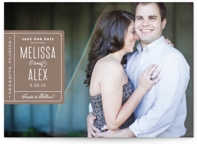 This is a landscape classical, full bleed photo, modern, simple, brown Save the Dates by Jennifer Wick called Book Plate with Standard printing on Signature in Postcard Flat Card format. Smart and chic, our indie designed postcards let you announce ...