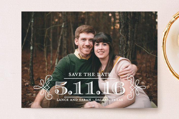 """""""Embellished"""" - Full-Bleed Photo, Modern Save The Date Postcards in Vanilla by Lauren Chism."""