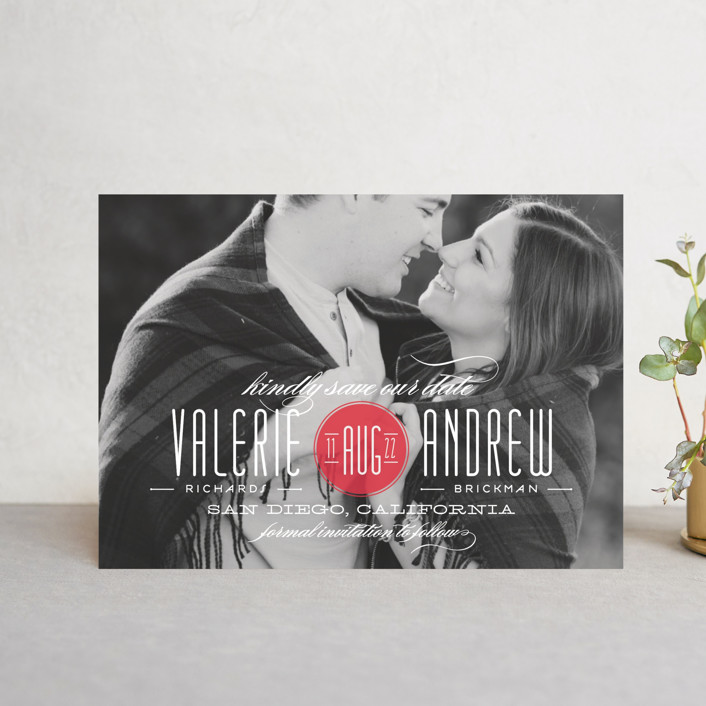 """""""Twine"""" - Modern Save The Date Postcards in Coral by Lauren Chism."""