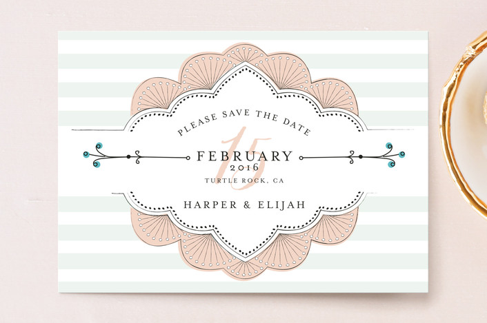 """Striped Sweet Nothings"" - Classical, Modern Save The Date Postcards in Romantic by Frooted Design."