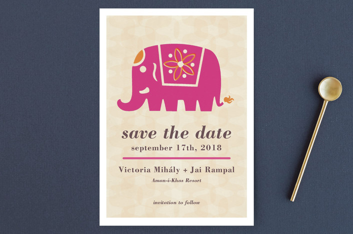 Indian Elephant Save The Date Postcards by Alex Elko Design Minted