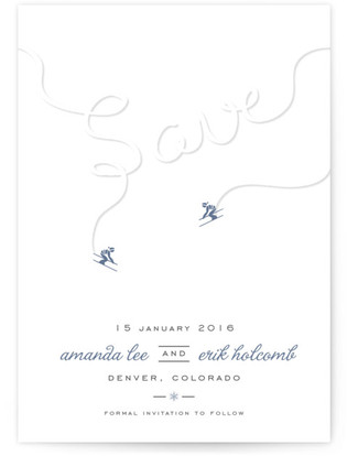 Ski Run Save The Date Postcards