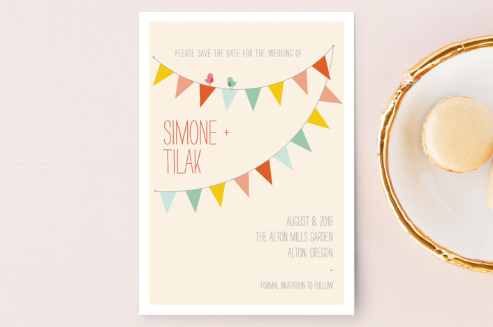 """""""Barn Party"""" - Rustic, Whimsical & Funny Save The Date Postcards in Peach by ZucchiniPress."""