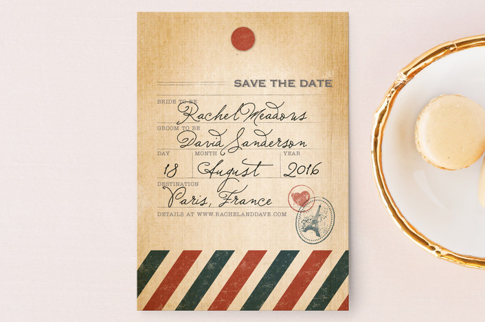 """Vintage Pack Your Bags"" - Destination, Vintage Save The Date Postcards in Post Office by Dawn Jasper."