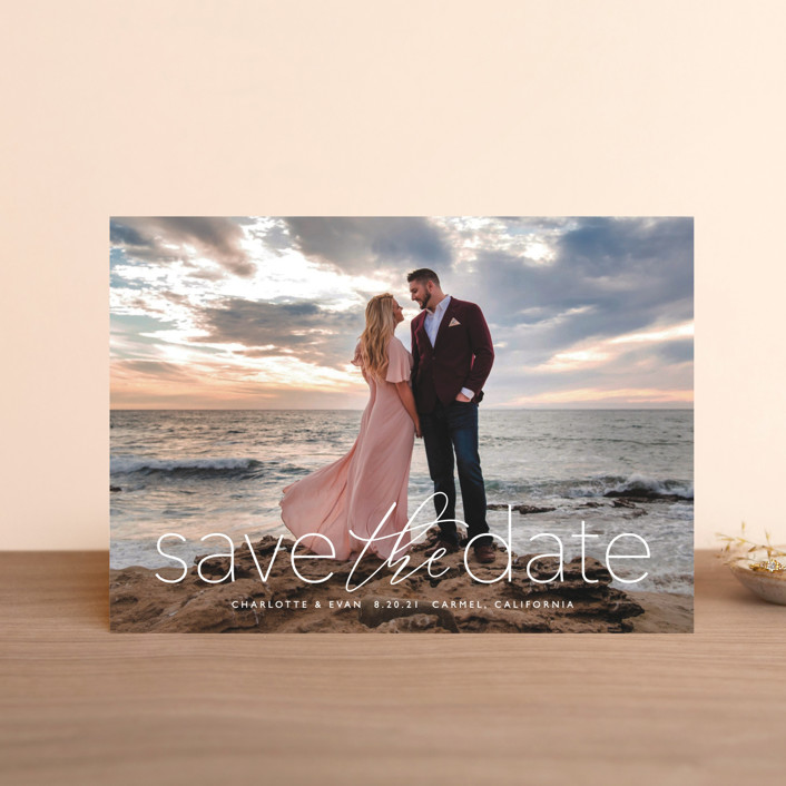 """""""typographic wedding"""" - Save The Date Postcards in Ivory by Erin Deegan."""