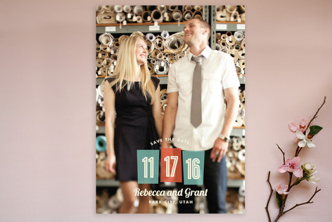 Retro Numbers Save The Date Postcards