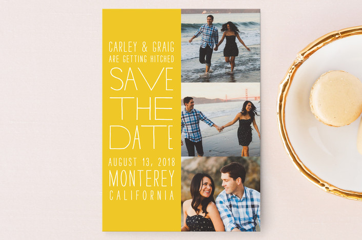 """Film Strip"" - Modern, Simple Save The Date Postcards in Lemon by annie clark."