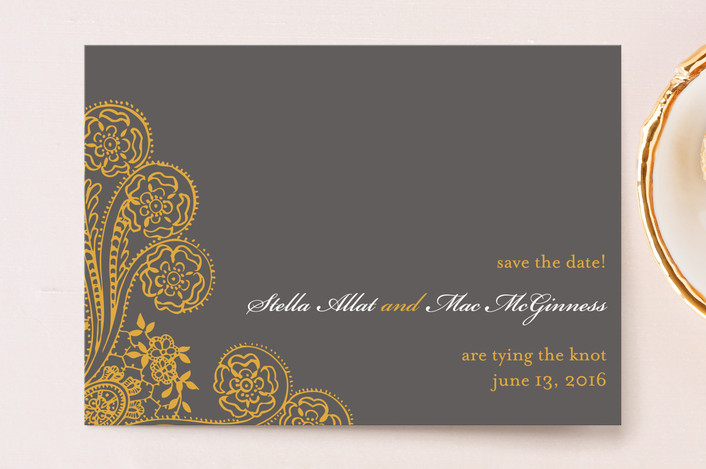 """""""Spanish Lace"""" - Formal, Vintage Save The Date Postcards in Cloudy by annie clark."""