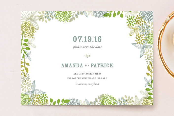 """""""Fling"""" - Save The Date Postcards in Clover by Andrea Mentzer."""