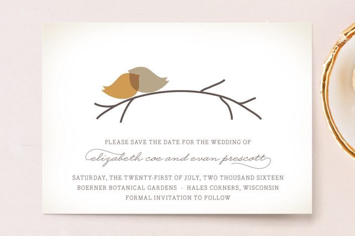 """Nestled"" - Save The Date Postcards in Pumpkin Spice by Design Lotus."
