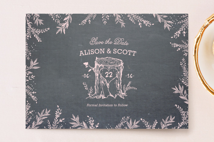 """Woodland Romance"" - Rustic Save The Date Postcards in Blush by cadence paige design."