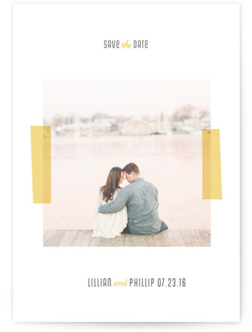 This is a portrait modern, simple, yellow Save the Dates by Roxy Cervantes called Picture Perfect with Standard printing on Signature in Postcard Flat Card format. Smart and chic, our indie designed postcards let you announce your wedding date while ...