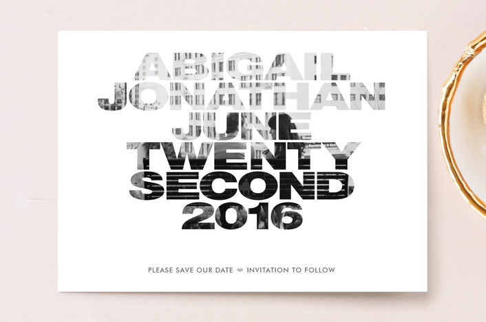 """""""Album Cover"""" - Modern, Bold typographic Save The Date Postcards in Silver by Carol Fazio."""