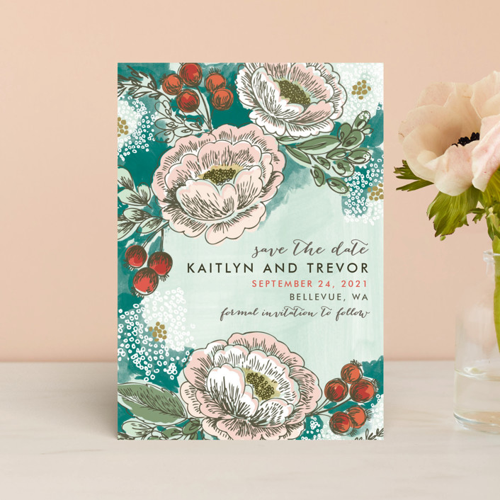 """Soft Watercolor Florals"" - Save The Date Postcards in Teal by Alethea and Ruth."