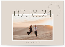 This is a beige save the date postcard by chocomocacino called verines with standard printing on signature in postcard.