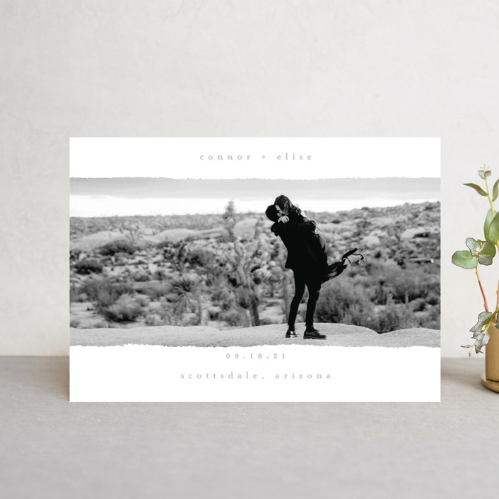 """""""happening"""" - Minimalist, Modern Save The Date Postcards in Charcoal by Faith Dorn."""