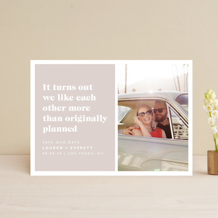 """Original Plan"" - Funny Save The Date Postcards in Nude by Caitlin Considine."