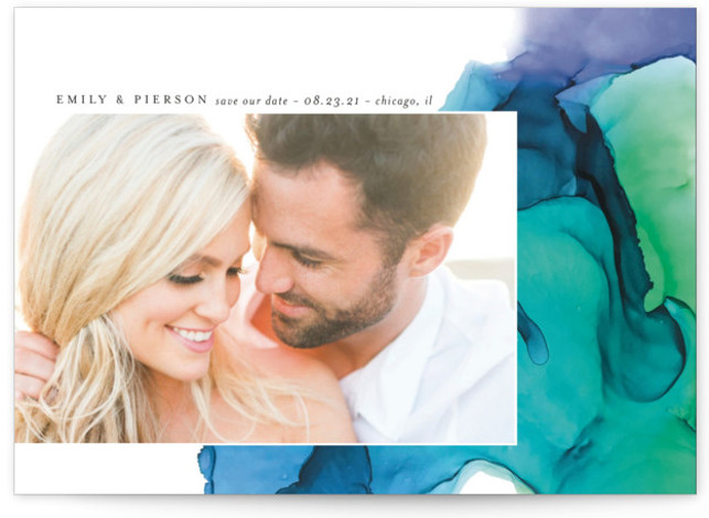 This is a modern, painterly, watercolor, blue Save the Dates by Erin Deegan called dreamy watercolors with Standard printing on Signature in Postcard Flat Card format. Custom save the date card featuring a hand painted background.