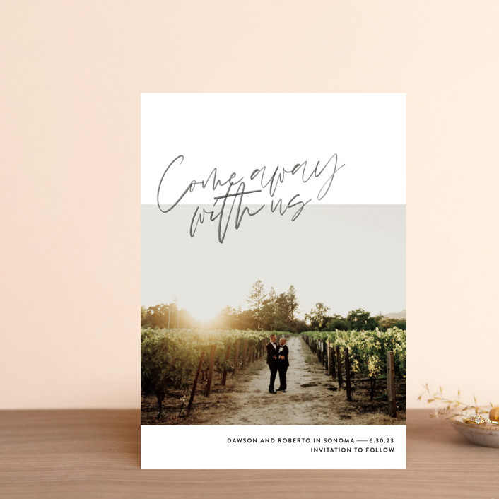 """Come Away"" - Save The Date Postcards in Cloud by Jody Wody."