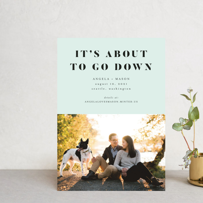 """""""About To Go Down"""" - Save The Date Postcards in Mint by Stephanie Given."""