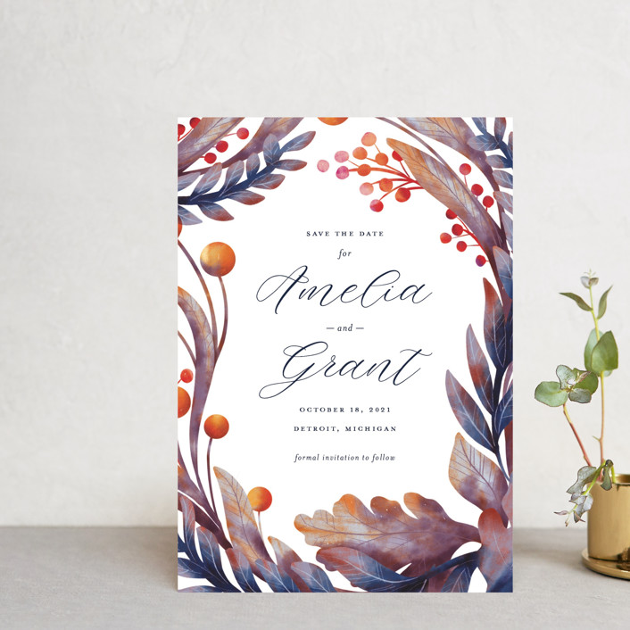 """Autumn Canopy"" - Save The Date Postcards in Berry by Snow and Ivy."