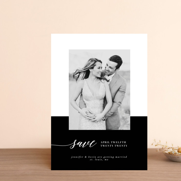"""Black Tie Affair"" - Modern Save The Date Postcards in Tuxedo by lena barakat."