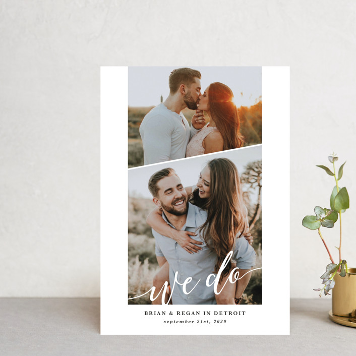 """We Do"" - Save The Date Postcards in Pearl by Laura Hamm."