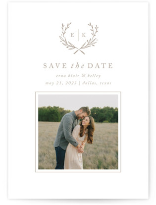 photo of Lined Laurel Save The Date Postcards