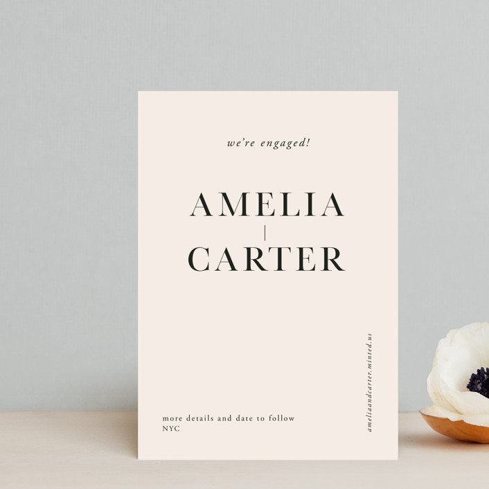 """""""Booked"""" - Save The Date Postcards in Ink by Mere Paper."""