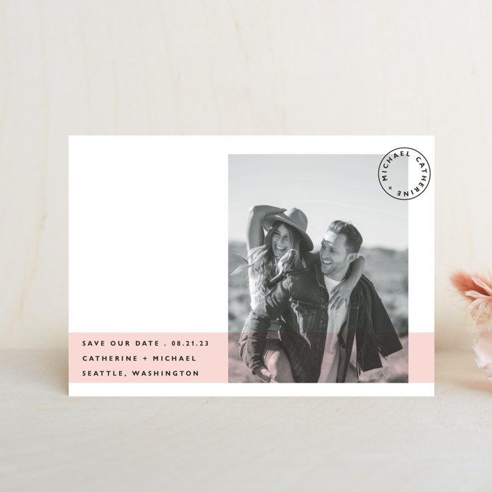 """Sealed with a Kiss"" - Save The Date Postcards in Blush by Hudson Meet Rose."