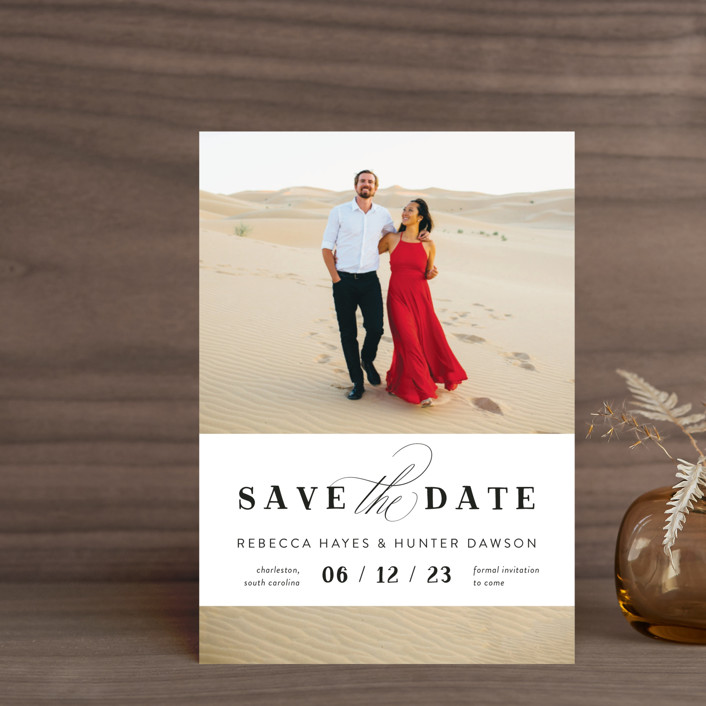 """""""Southern Charm"""" - Save The Date Postcards in Noir by Beth Murphy."""