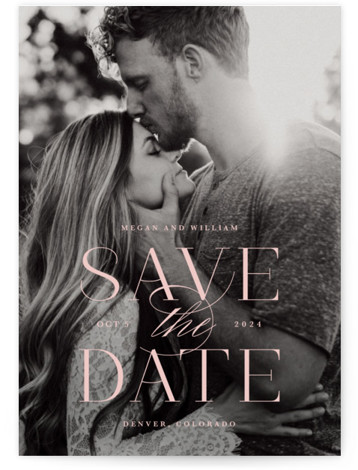 This is a landscape, portrait classic and formal, pink Save the Dates by Lauren Chism called Ultimate with Standard printing on Signature in Postcard Flat Card format. Classic