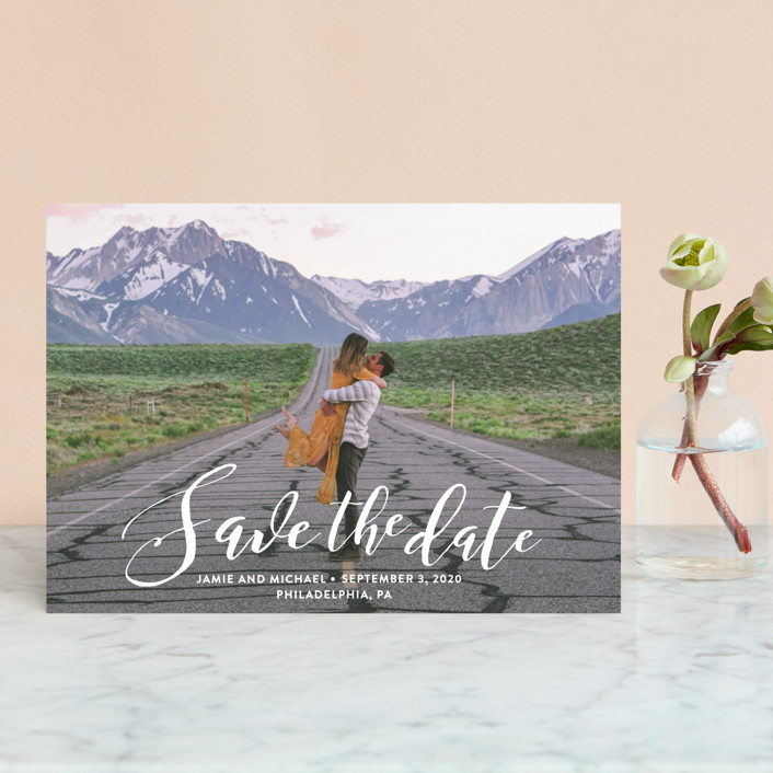 """Scripted Romance"" - Save The Date Postcards in Dove by Katherine Moynagh."