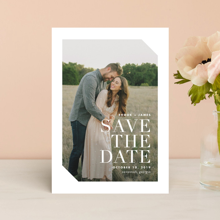 """Mix"" - Modern Save The Date Postcards in Cotton by Lauren Chism."