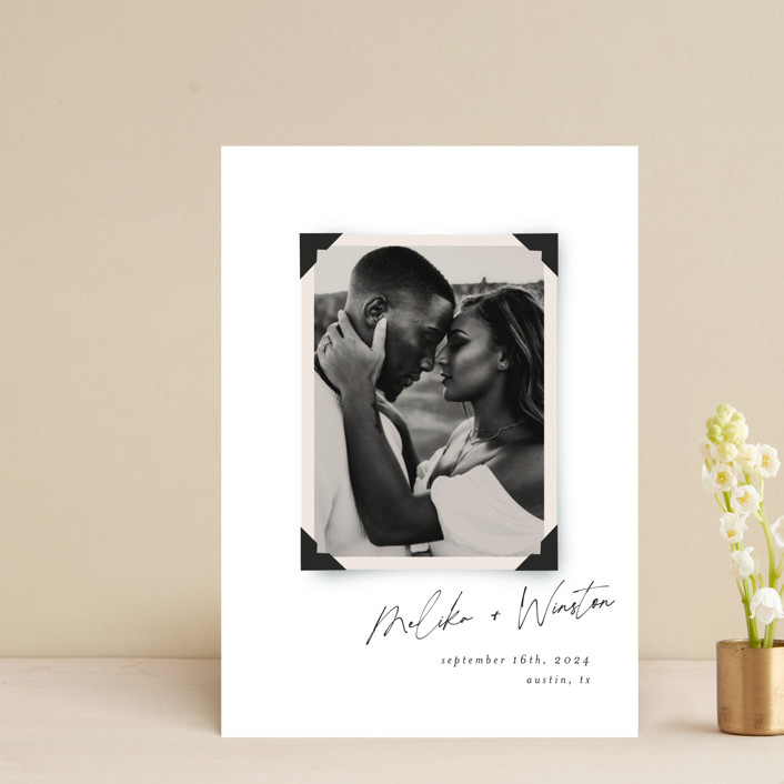 """""""Album"""" - Vintage Save The Date Postcards in Parchment by Morgan Kendall."""