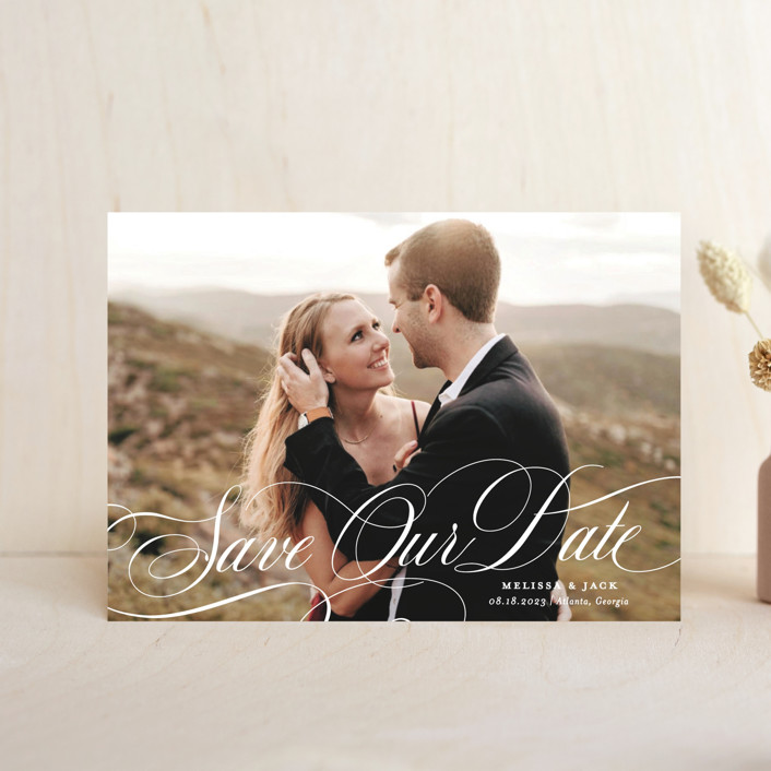"""Resplendent"" - Save The Date Postcards in Vanilla by Sarah Brown."