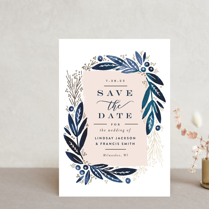 """Leaf Frame"" - Save The Date Postcards in Midnight Blue by Alethea and Ruth."