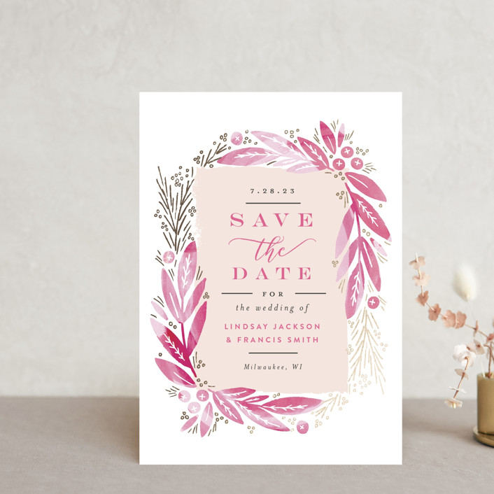"""""""Leaf Frame"""" - Save The Date Postcards in Midnight Blue by Alethea and Ruth."""