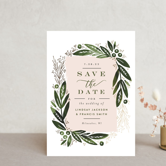 """""""Leaf Frame"""" - Save The Date Postcards in Pine by Alethea and Ruth."""