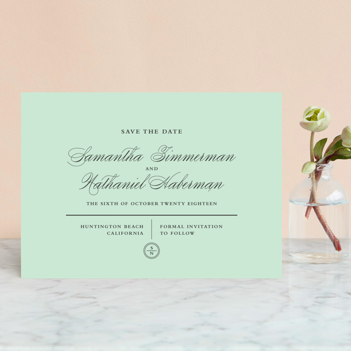 """Notable"" - Save The Date Postcards in Mint by Olivia Raufman."